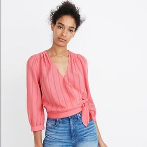 Madewell Pink Wrap Blouse